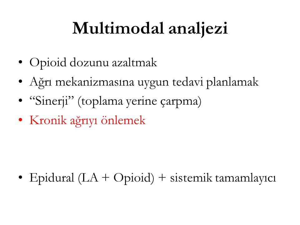 """Multimodal analjezi Opioid dozunu azaltmak Ağrı mekanizmasına uygun tedavi planlamak """"Sinerji"""" (toplama yerine çarpma) Kronik ağrıyı önlemek Epidural"""