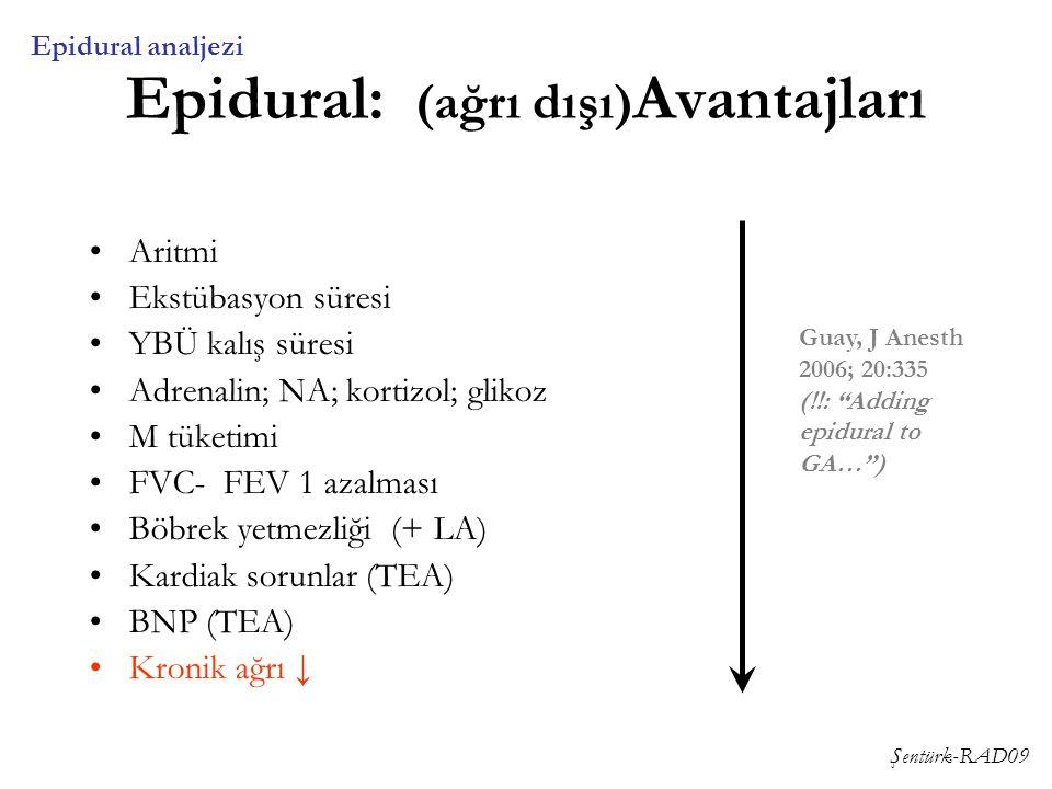 Şentürk-RAD09 Epidural: (ağrı dışı) Avantajları Aritmi Ekstübasyon süresi YBÜ kalış süresi Adrenalin; NA; kortizol; glikoz M tüketimi FVC- FEV 1 azalm