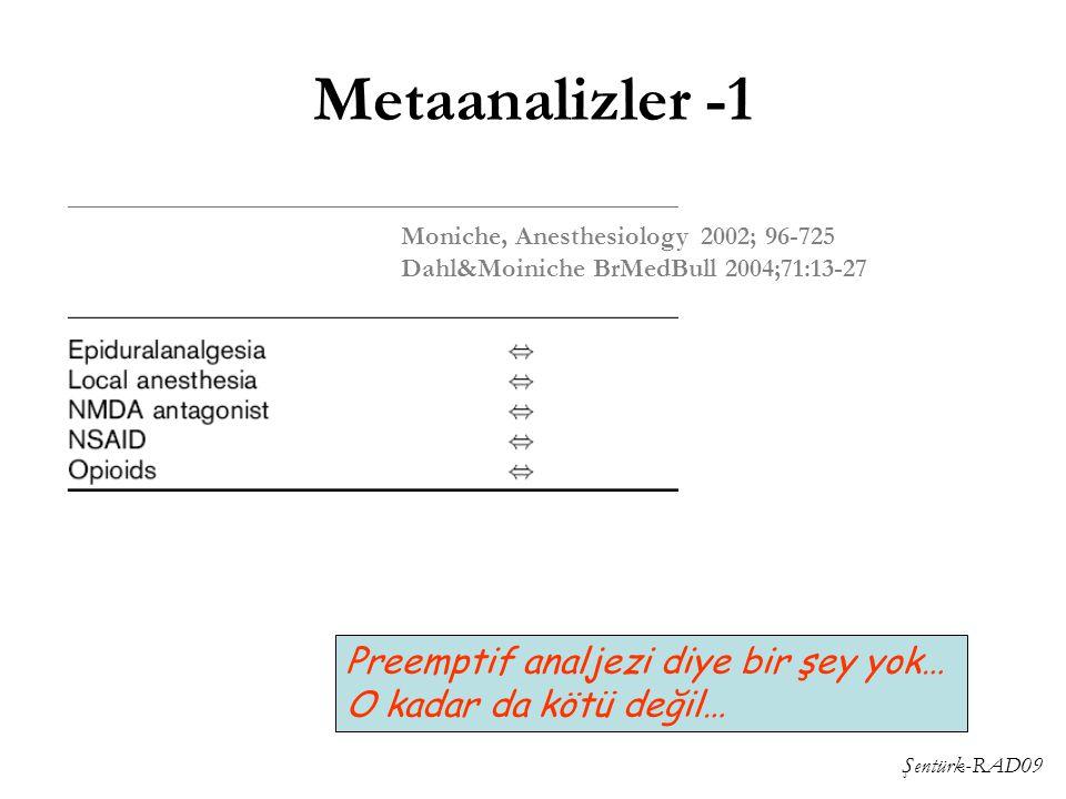 Şentürk-RAD09 Metaanalizler -1 Moniche, Anesthesiology 2002; 96-725 Dahl&Moiniche BrMedBull 2004;71:13-27 Preemptif analjezi diye bir şey yok… O kadar