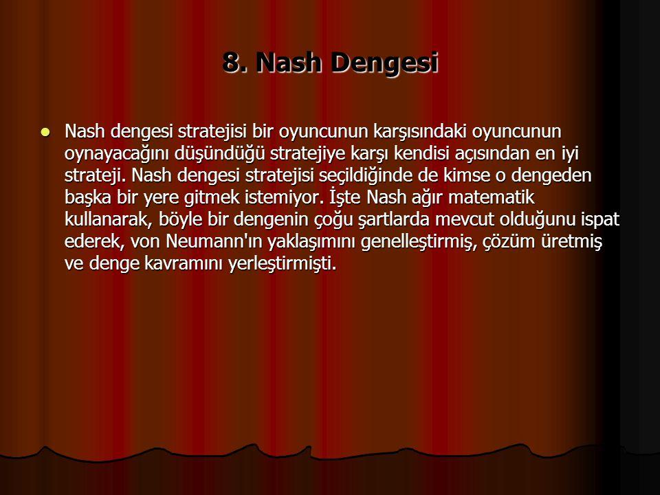 8. Nash Dengesi Nash dengesi stratejisi bir oyuncunun karşısındaki oyuncunun oynayacağını düşündüğü stratejiye karşı kendisi açısından en iyi strateji