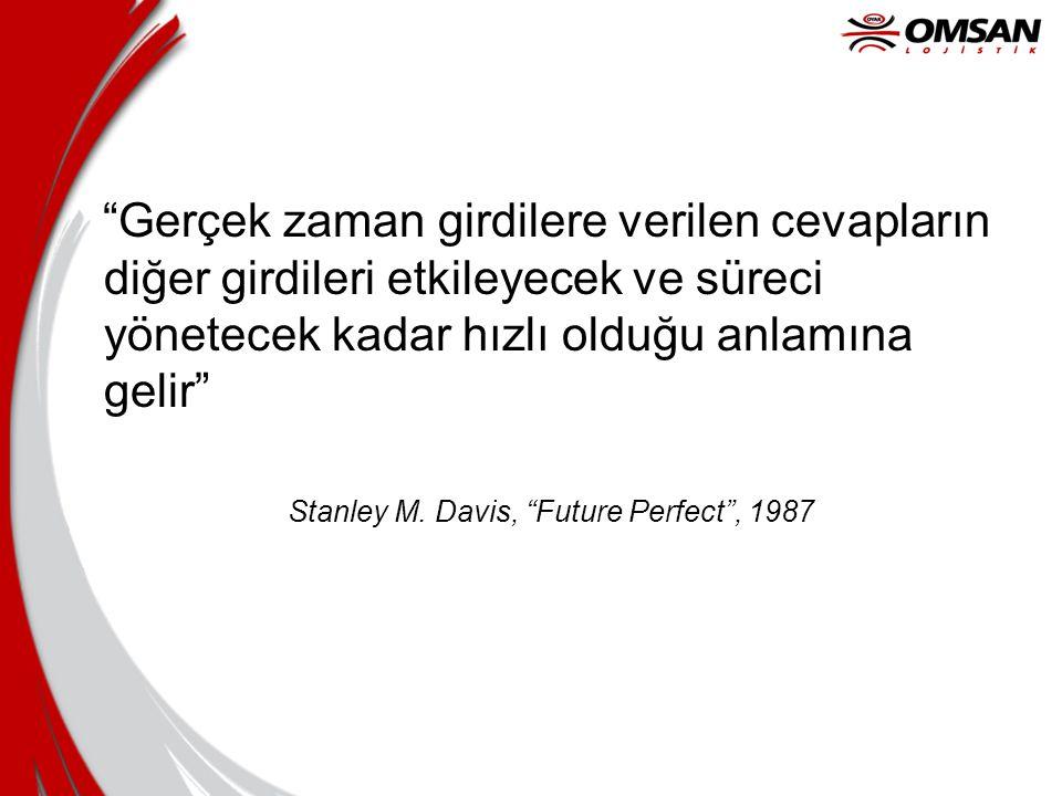 """""""Gerçek zaman girdilere verilen cevapların diğer girdileri etkileyecek ve süreci yönetecek kadar hızlı olduğu anlamına gelir"""" Stanley M. Davis, """"Futur"""