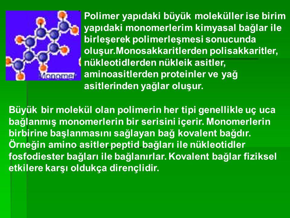 Polimer yapıdaki büyük moleküller ise birim yapıdaki monomerlerim kimyasal bağlar ile birleşerek polimerleşmesi sonucunda oluşur.Monosakkaritlerden po