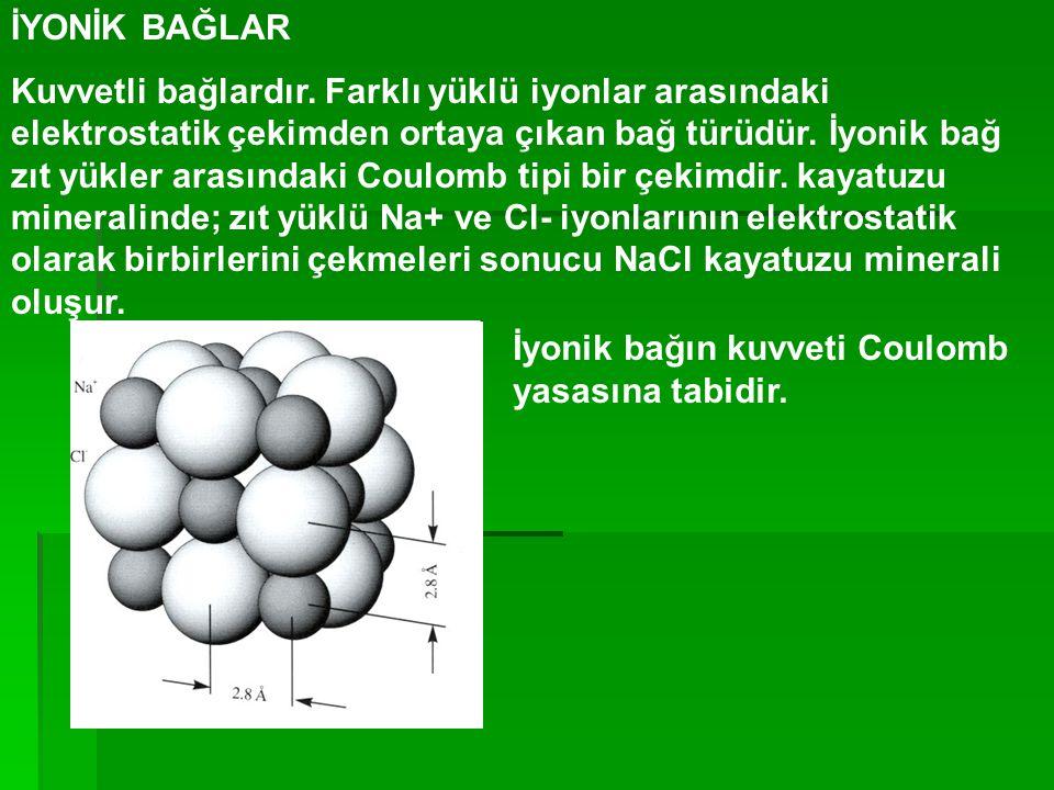İYONİK BAĞLAR Kuvvetli bağlardır. Farklı yüklü iyonlar arasındaki elektrostatik çekimden ortaya çıkan bağ türüdür. İyonik bağ zıt yükler arasındaki Co