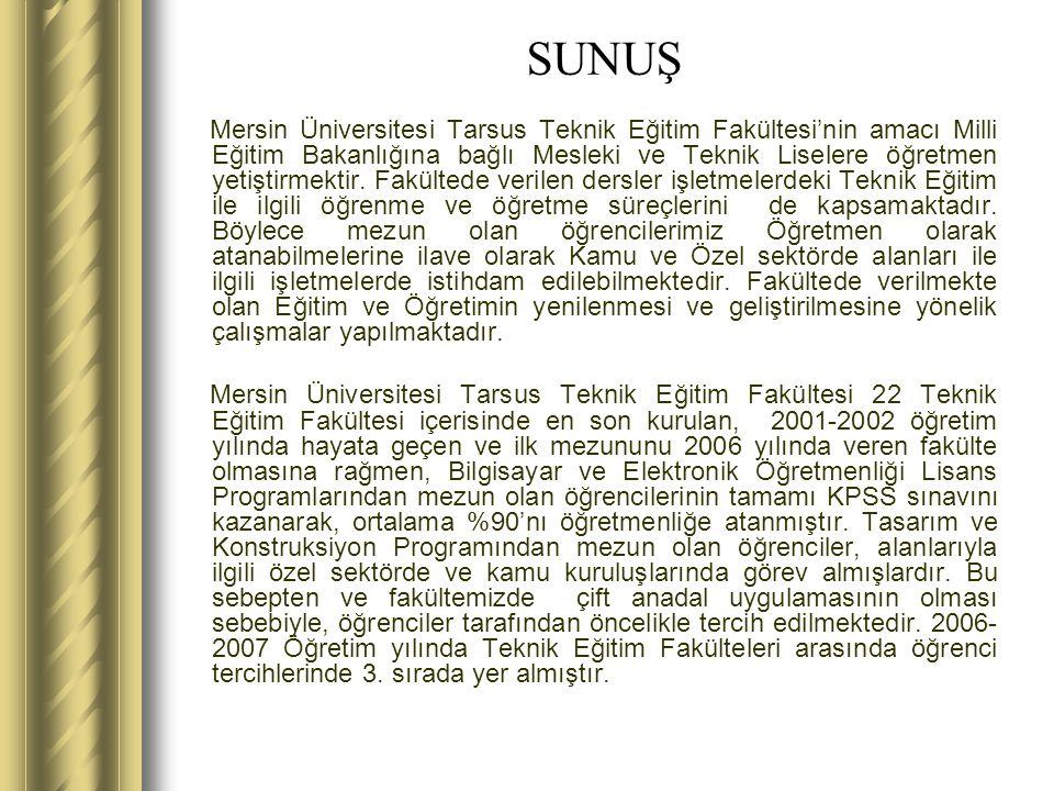Mersin Üniversitesi Tarsus Teknik Eğitim Fakültesi'nin amacı Milli Eğitim Bakanlığına bağlı Mesleki ve Teknik Liselere öğretmen yetiştirmektir.