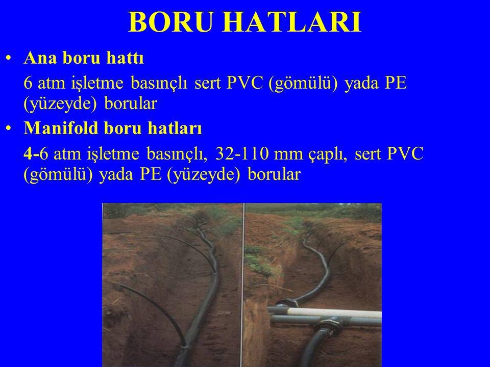 BORU HATLARI Ana boru hattı 6 atm işletme basınçlı sert PVC (gömülü) yada PE (yüzeyde) borular Manifold boru hatları 4-6 atm işletme basınçlı, 32-110