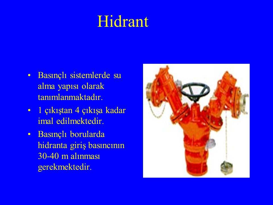 Hidrant Basınçlı sistemlerde su alma yapısı olarak tanımlanmaktadır. 1 çıkıştan 4 çıkışa kadar imal edilmektedir. Basınçlı borularda hidranta giriş ba
