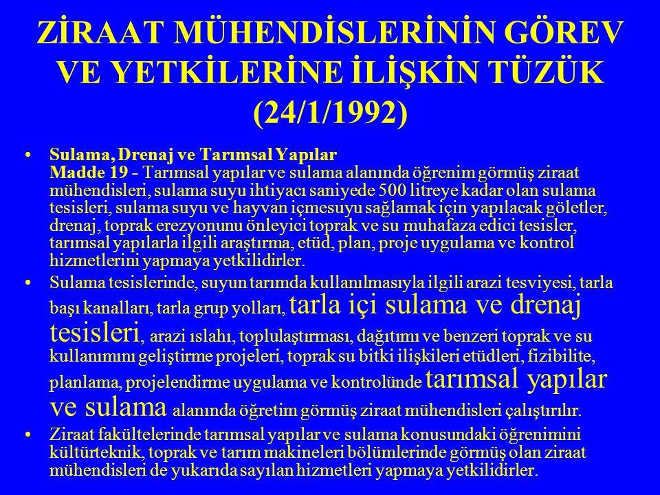 ZİRAAT MÜHENDİSLERİNİN GÖREV VE YETKİLERİNE İLİŞKİN TÜZÜK (24/1/1992) Sulama, Drenaj ve Tarımsal Yapılar Madde 19 - Tarımsal yapılar ve sulama alanınd