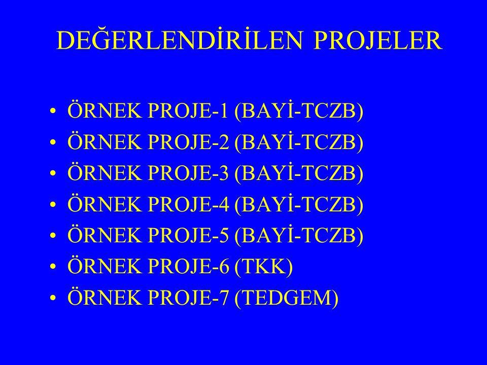 DEĞERLENDİRİLEN PROJELER ÖRNEK PROJE-1 (BAYİ-TCZB) ÖRNEK PROJE-2 (BAYİ-TCZB) ÖRNEK PROJE-3 (BAYİ-TCZB) ÖRNEK PROJE-4 (BAYİ-TCZB) ÖRNEK PROJE-5 (BAYİ-T