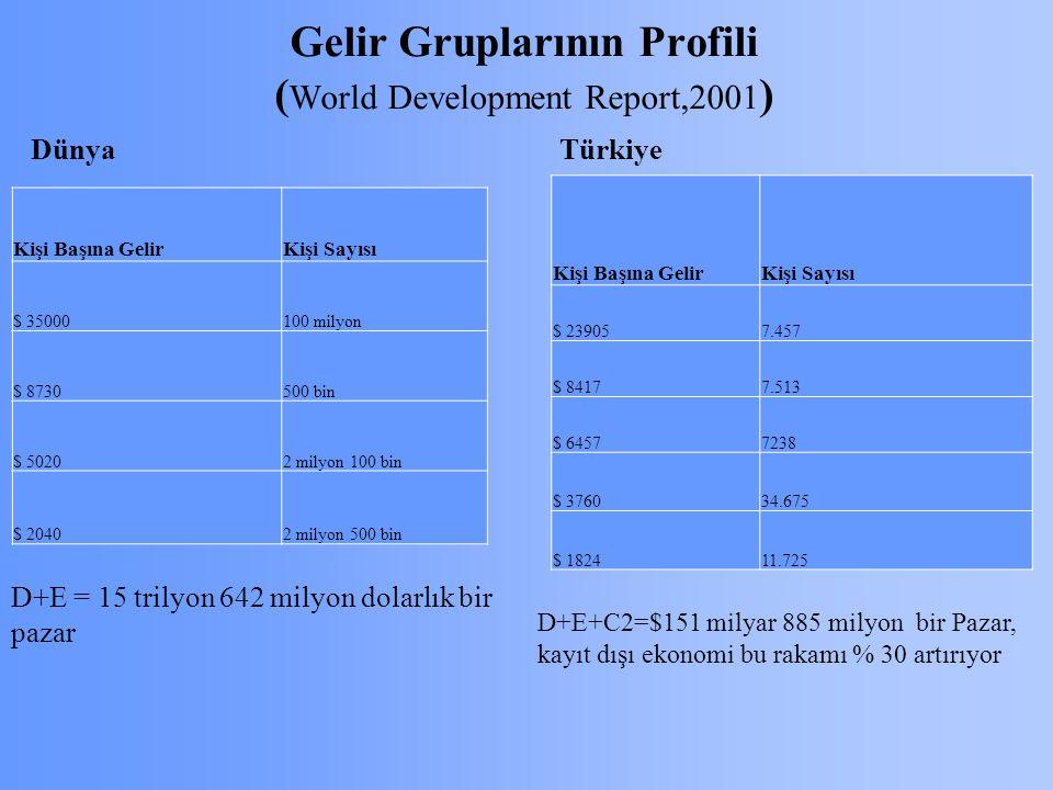 Gelir Gruplarının Profili ( World Development Report,2001 ) Kişi Başına GelirKişi Sayısı $ 239057.457 $ 84177.513 $ 64577238 $ 376034.675 $ 182411.725 Kişi Başına GelirKişi Sayısı $ 35000100 milyon $ 8730500 bin $ 50202 milyon 100 bin $ 20402 milyon 500 bin Dünya Türkiye D+E = 15 trilyon 642 milyon dolarlık bir pazar D+E+C2=$151 milyar 885 milyon bir Pazar, kayıt dışı ekonomi bu rakamı % 30 artırıyor