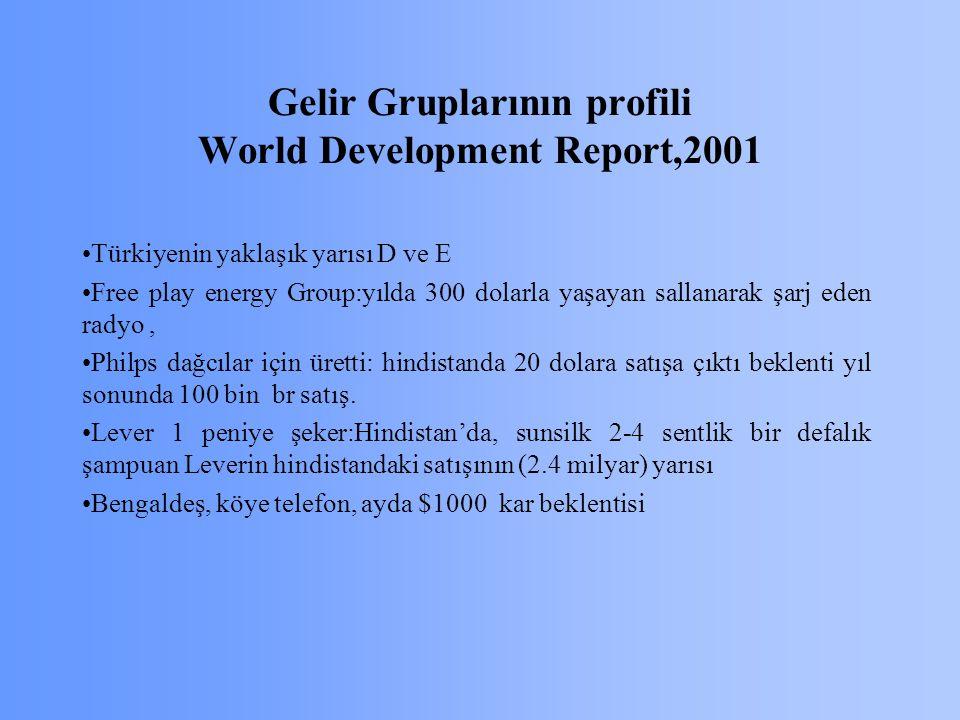 Gelir Gruplarının profili World Development Report,2001 Türkiyenin yaklaşık yarısı D ve E Free play energy Group:yılda 300 dolarla yaşayan sallanarak şarj eden radyo, Philps dağcılar için üretti: hindistanda 20 dolara satışa çıktı beklenti yıl sonunda 100 bin br satış.
