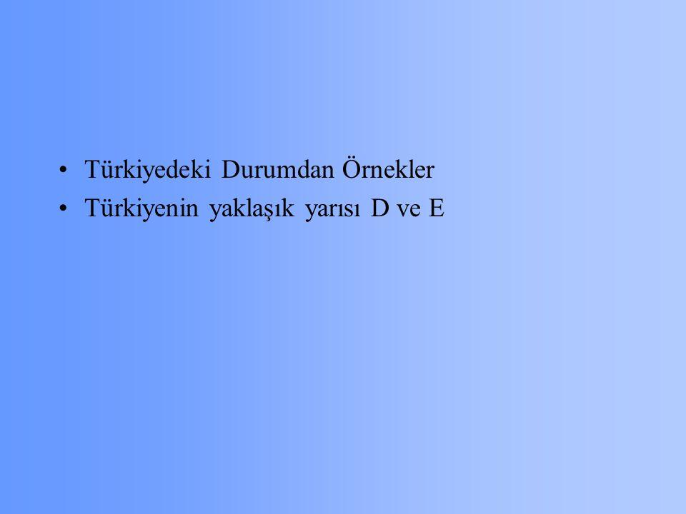 Türkiyedeki Durumdan Örnekler Türkiyenin yaklaşık yarısı D ve E