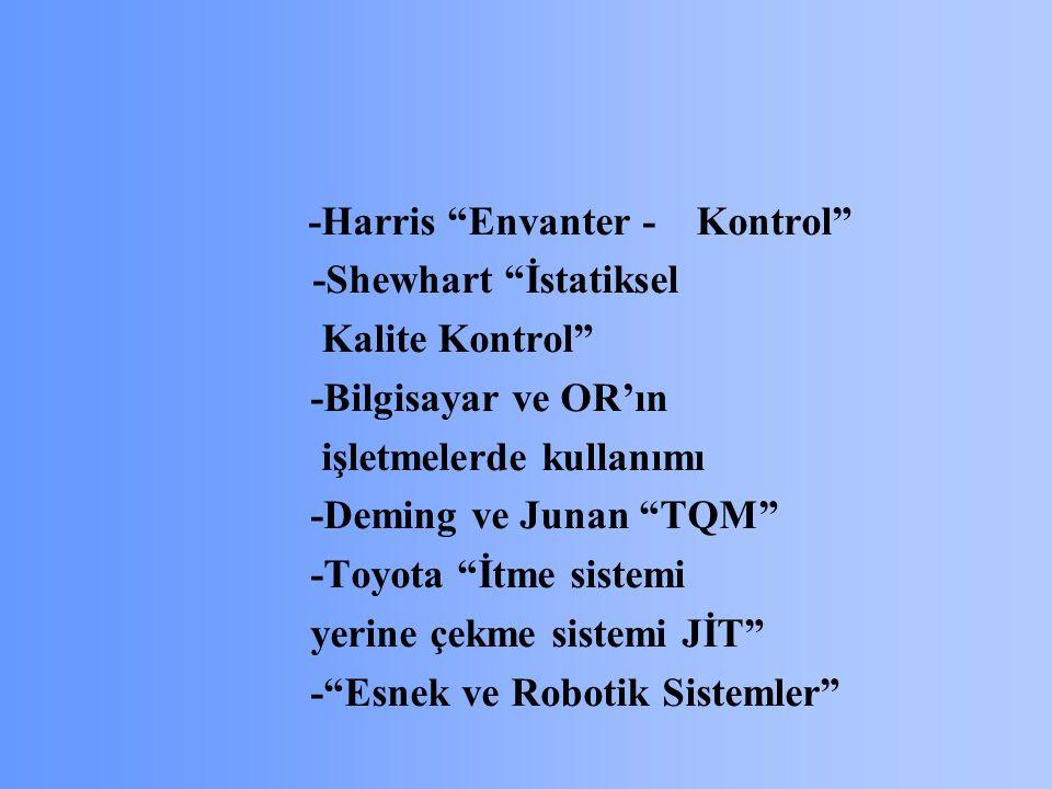 -Harris Envanter - Kontrol -Shewhart İstatiksel Kalite Kontrol -Bilgisayar ve OR'ın işletmelerde kullanımı -Deming ve Junan TQM -Toyota İtme sistemi yerine çekme sistemi JİT - Esnek ve Robotik Sistemler