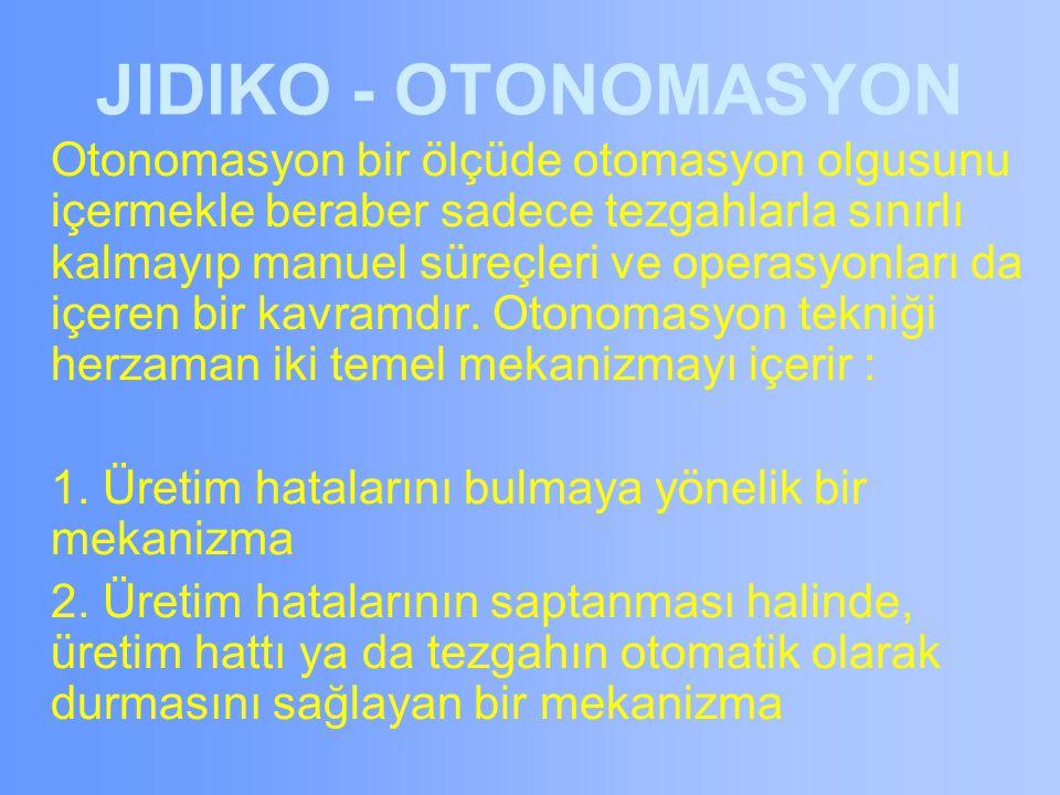 JIDIKO - OTONOMASYON Otonomasyon bir ölçüde otomasyon olgusunu içermekle beraber sadece tezgahlarla sınırlı kalmayıp manuel süreçleri ve operasyonları da içeren bir kavramdır.
