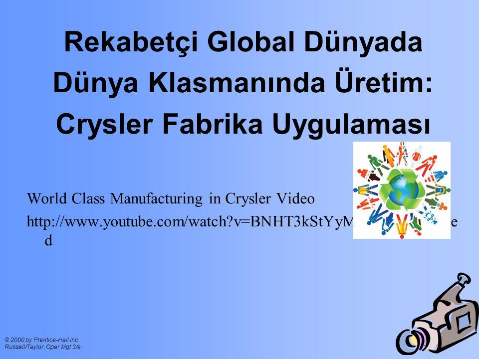 Ch 1 - 11 © 2000 by Prentice-Hall Inc Russell/Taylor Oper Mgt 3/e Rekabetçi Global Dünyada Dünya Klasmanında Üretim: Crysler Fabrika Uygulaması World Class Manufacturing in Crysler Video http://www.youtube.com/watch?v=BNHT3kStYyM&feature=relate d