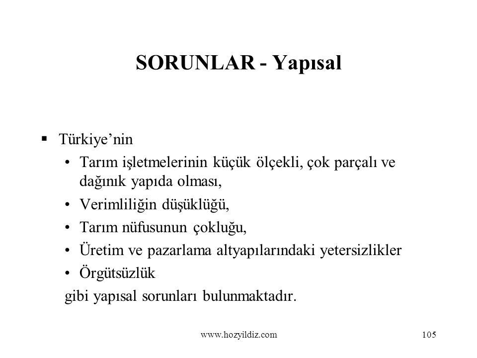 105 SORUNLAR - Yapısal  Türkiye'nin Tarım işletmelerinin küçük ölçekli, çok parçalı ve dağınık yapıda olması, Verimliliğin düşüklüğü, Tarım nüfusunun