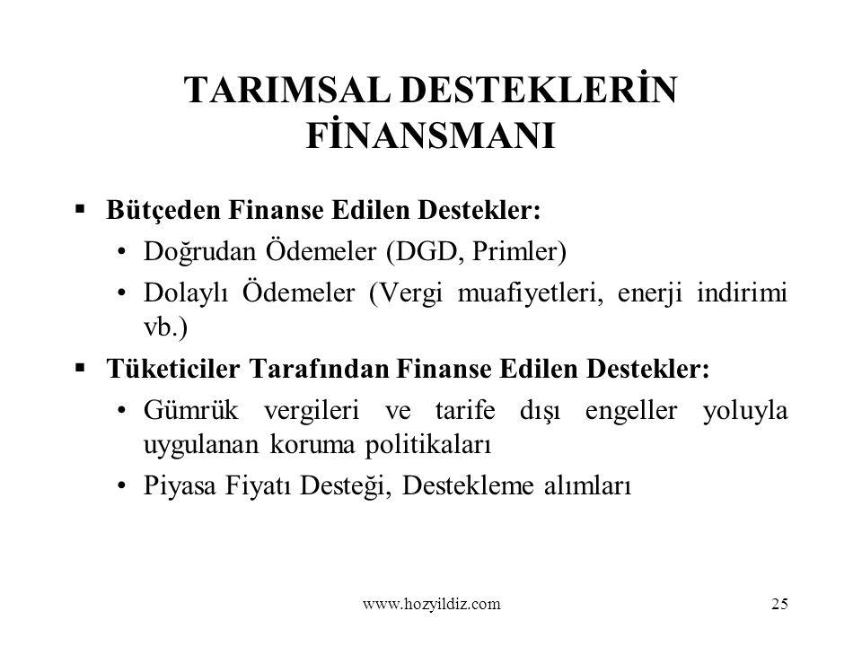 25 TARIMSAL DESTEKLERİN FİNANSMANI  Bütçeden Finanse Edilen Destekler: Doğrudan Ödemeler (DGD, Primler) Dolaylı Ödemeler (Vergi muafiyetleri, enerji