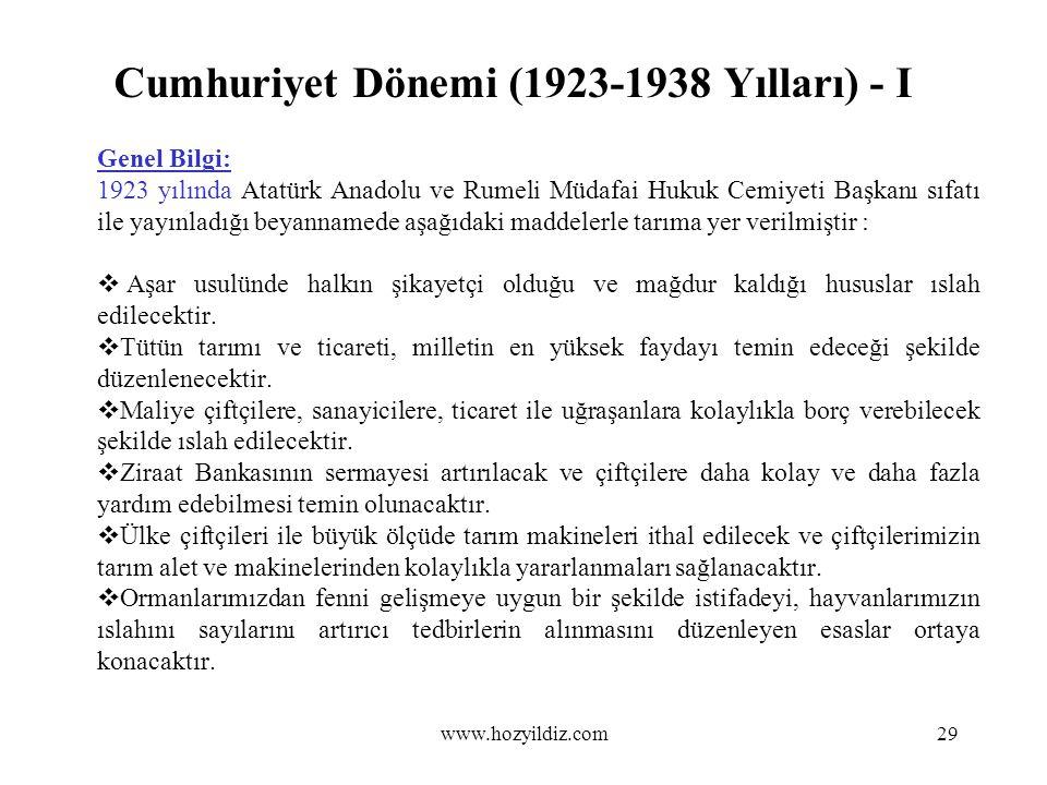Cumhuriyet Dönemi (1923-1938 Yılları) - I Genel Bilgi: 1923 yılında Atatürk Anadolu ve Rumeli Müdafai Hukuk Cemiyeti Başkanı sıfatı ile yayınladığı be