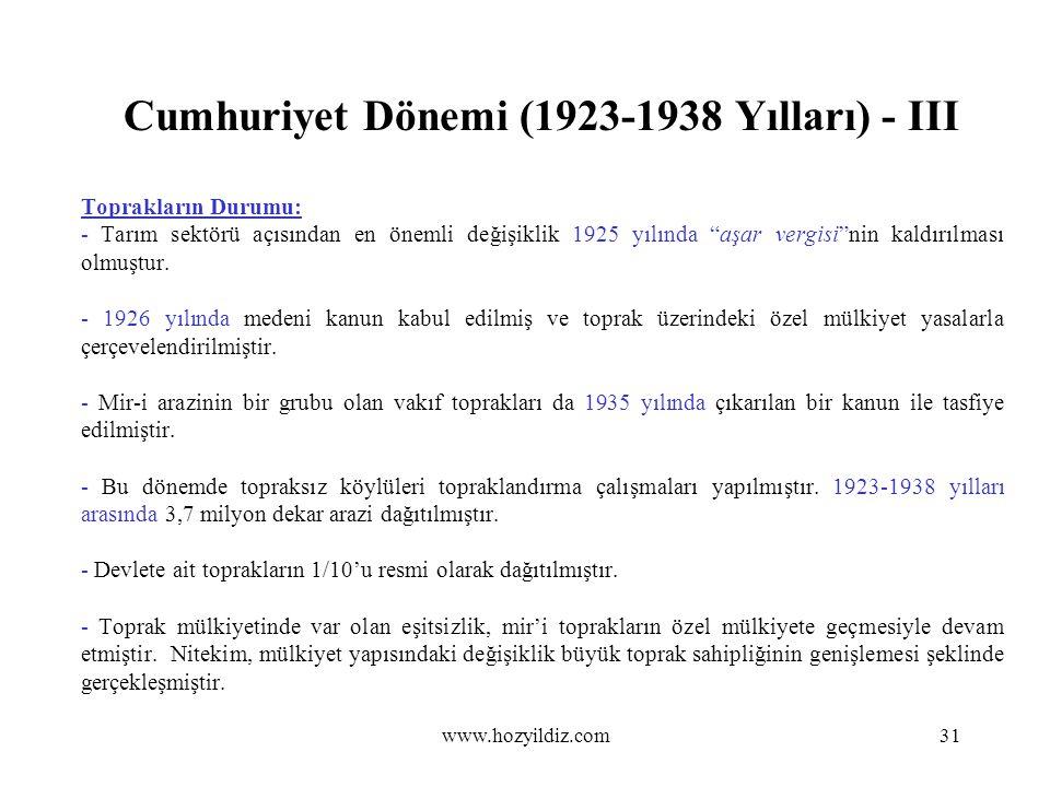 """Cumhuriyet Dönemi (1923-1938 Yılları) - III Toprakların Durumu: - Tarım sektörü açısından en önemli değişiklik 1925 yılında """"aşar vergisi""""nin kaldırıl"""