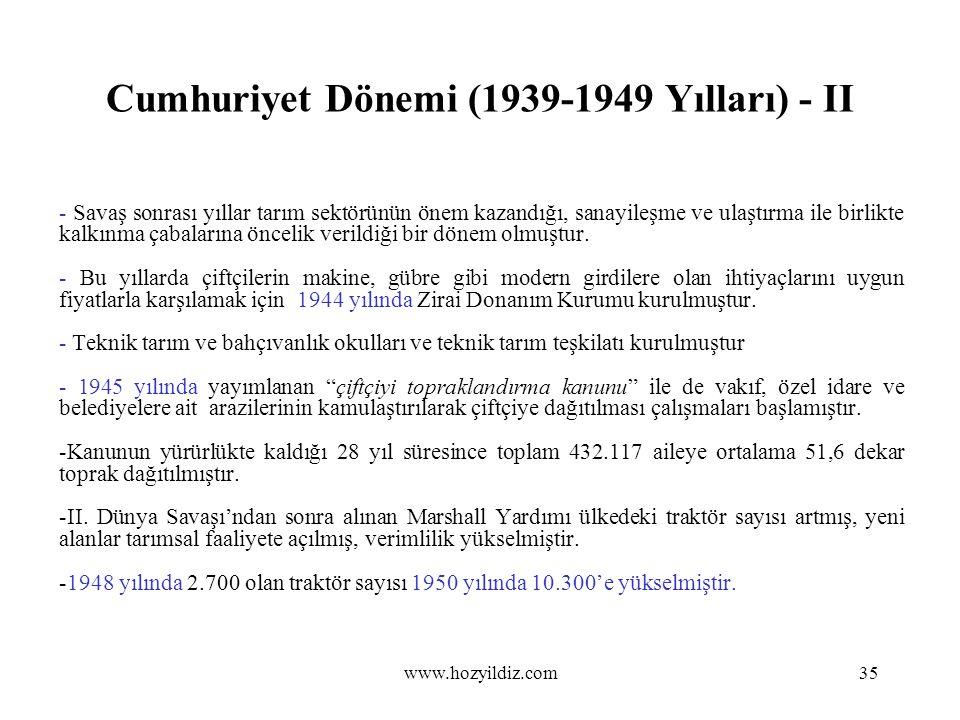 Cumhuriyet Dönemi (1939-1949 Yılları) - II - Savaş sonrası yıllar tarım sektörünün önem kazandığı, sanayileşme ve ulaştırma ile birlikte kalkınma çaba
