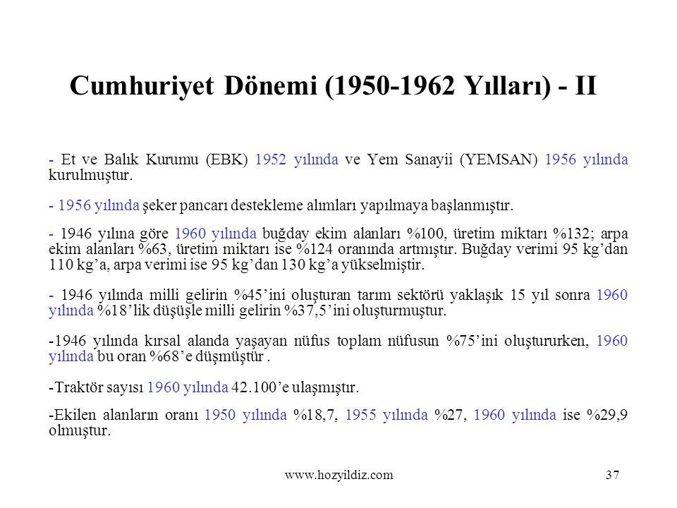 Cumhuriyet Dönemi (1950-1962 Yılları) - II - Et ve Balık Kurumu (EBK) 1952 yılında ve Yem Sanayii (YEMSAN) 1956 yılında kurulmuştur. - 1956 yılında şe