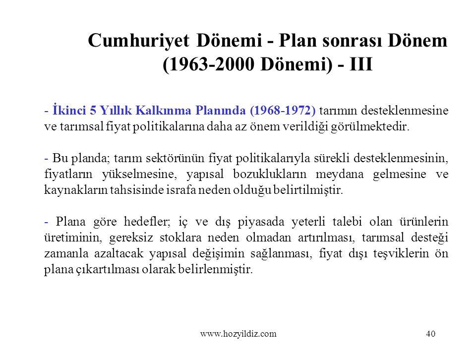 Cumhuriyet Dönemi - Plan sonrası Dönem (1963-2000 Dönemi) - III - İkinci 5 Yıllık Kalkınma Planında (1968-1972) tarımın desteklenmesine ve tarımsal fi