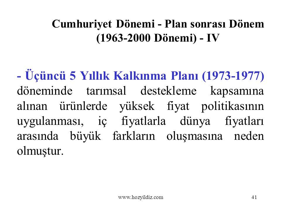 Cumhuriyet Dönemi - Plan sonrası Dönem (1963-2000 Dönemi) - IV - Üçüncü 5 Yıllık Kalkınma Planı (1973-1977) döneminde tarımsal destekleme kapsamına al