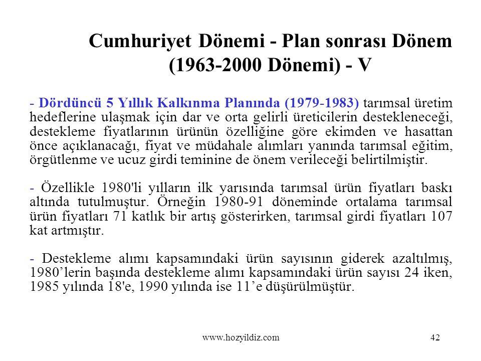Cumhuriyet Dönemi - Plan sonrası Dönem (1963-2000 Dönemi) - V - Dördüncü 5 Yıllık Kalkınma Planında (1979-1983) tarımsal üretim hedeflerine ulaşmak iç