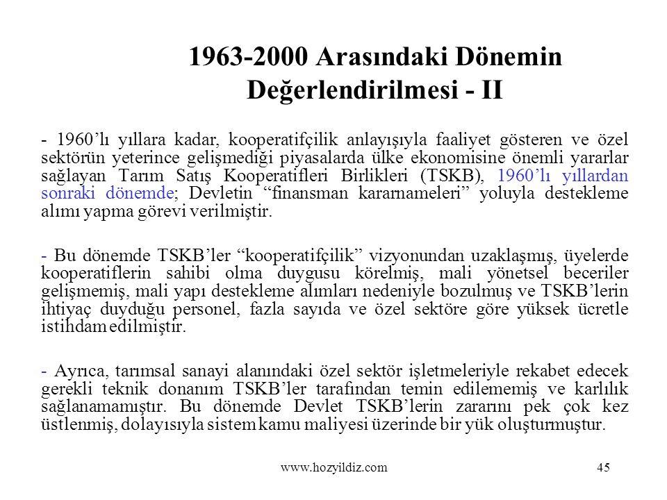 1963-2000 Arasındaki Dönemin Değerlendirilmesi - II - 1960'lı yıllara kadar, kooperatifçilik anlayışıyla faaliyet gösteren ve özel sektörün yeterince