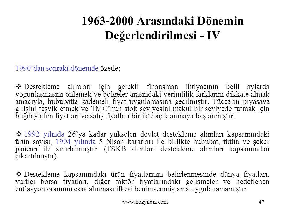 1963-2000 Arasındaki Dönemin Değerlendirilmesi - IV 1990'dan sonraki dönemde özetle;  Destekleme alımları için gerekli finansman ihtiyacının belli ay