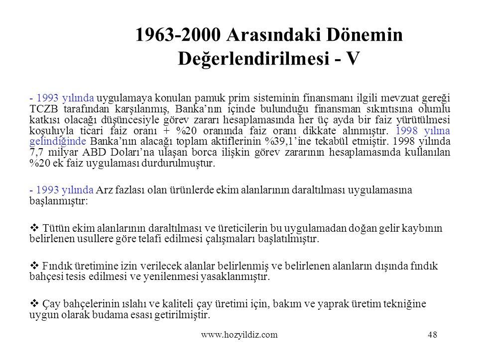 1963-2000 Arasındaki Dönemin Değerlendirilmesi - V - 1993 yılında uygulamaya konulan pamuk prim sisteminin finansmanı ilgili mevzuat gereği TCZB taraf