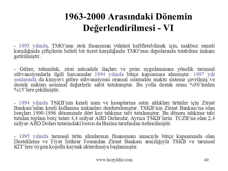 1963-2000 Arasındaki Dönemin Değerlendirilmesi - VI - 1993 yılında, TMO'nun stok finansman yükünü hafifletebilmek için, makbuz senedi karşılığında çif