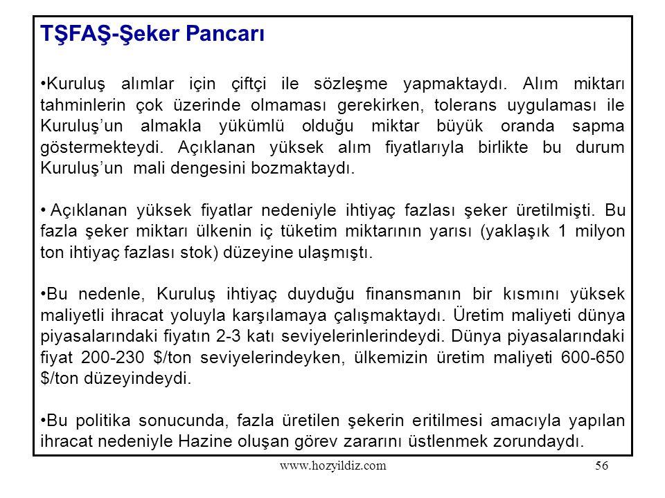 56 TŞFAŞ-Şeker Pancarı Kuruluş alımlar için çiftçi ile sözleşme yapmaktaydı. Alım miktarı tahminlerin çok üzerinde olmaması gerekirken, tolerans uygul