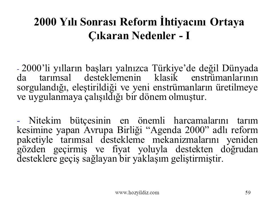 2000 Yılı Sonrası Reform İhtiyacını Ortaya Çıkaran Nedenler - I - 2000'li yılların başları yalnızca Türkiye'de değil Dünyada da tarımsal desteklemenin