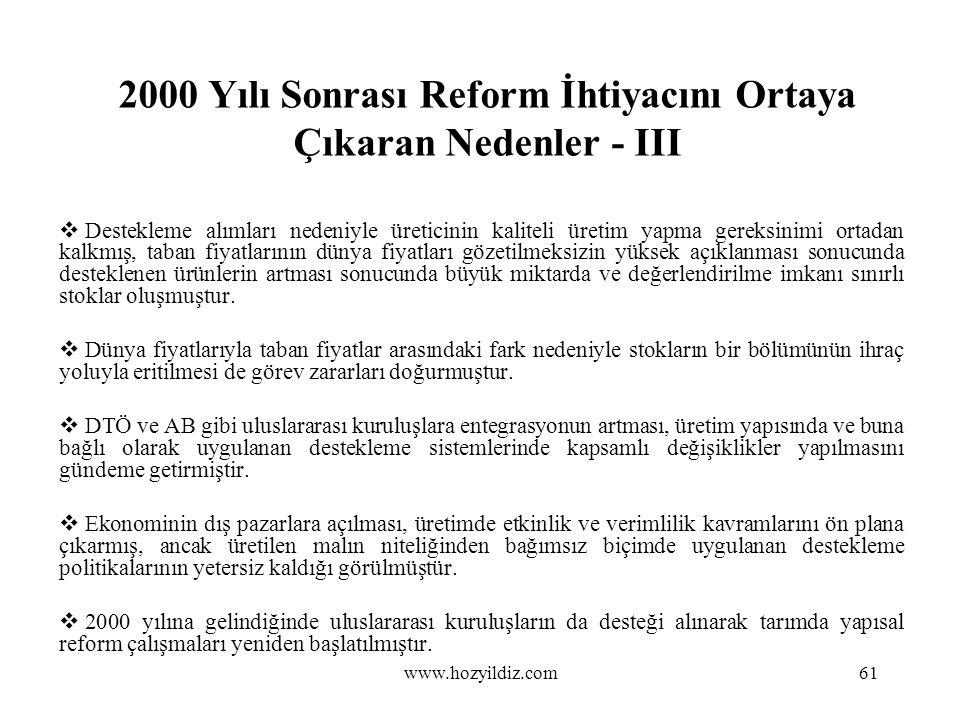 2000 Yılı Sonrası Reform İhtiyacını Ortaya Çıkaran Nedenler - III  Destekleme alımları nedeniyle üreticinin kaliteli üretim yapma gereksinimi ortadan