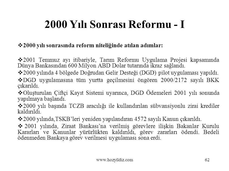 2000 Yılı Sonrası Reformu - I  2000 yılı sonrasında reform niteliğinde atılan adımlar:  2001 Temmuz ayı itibariyle, Tarım Reformu Uygulama Projesi k
