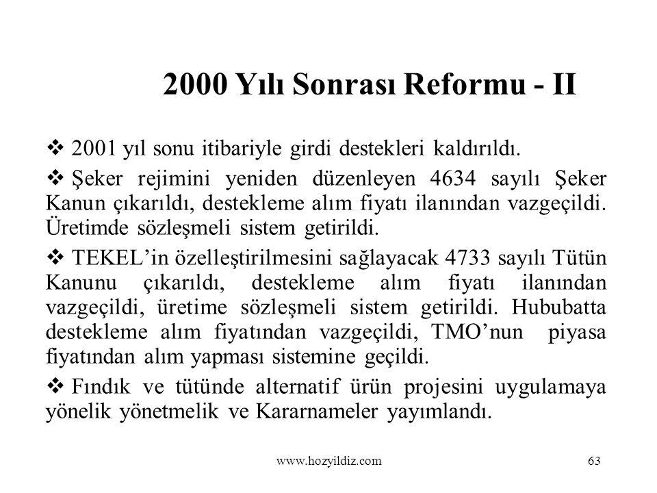 2000 Yılı Sonrası Reformu - II  2001 yıl sonu itibariyle girdi destekleri kaldırıldı.  Şeker rejimini yeniden düzenleyen 4634 sayılı Şeker Kanun çık