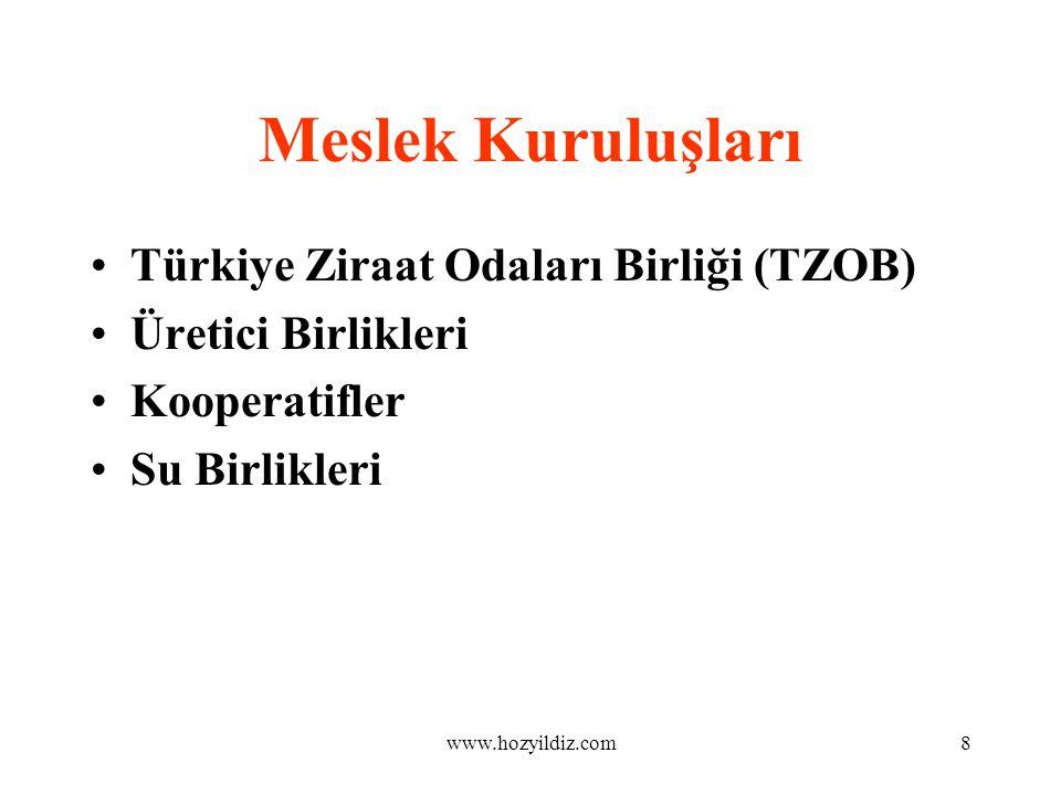 8 Meslek Kuruluşları Türkiye Ziraat Odaları Birliği (TZOB) Üretici Birlikleri Kooperatifler Su Birlikleri www.hozyildiz.com