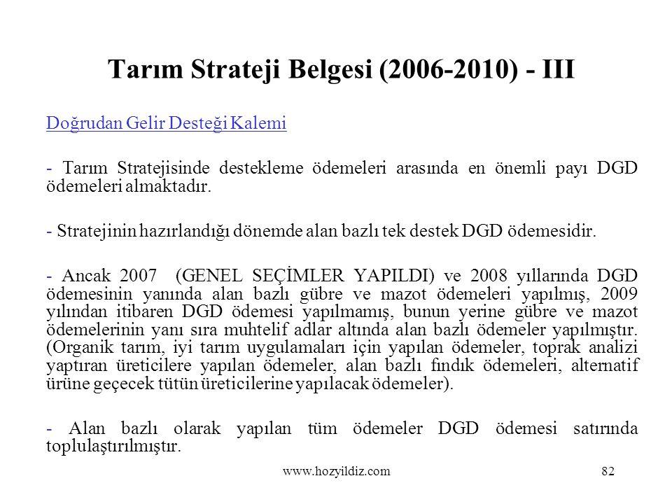 Tarım Strateji Belgesi (2006-2010) - III Doğrudan Gelir Desteği Kalemi - Tarım Stratejisinde destekleme ödemeleri arasında en önemli payı DGD ödemeler