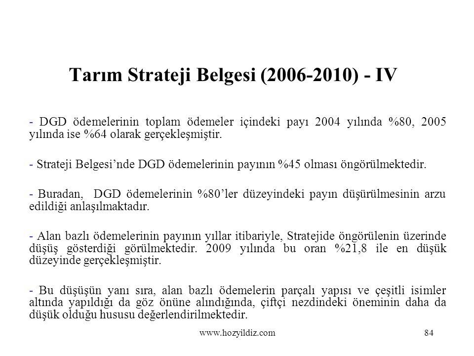 Tarım Strateji Belgesi (2006-2010) - IV - DGD ödemelerinin toplam ödemeler içindeki payı 2004 yılında %80, 2005 yılında ise %64 olarak gerçekleşmiştir