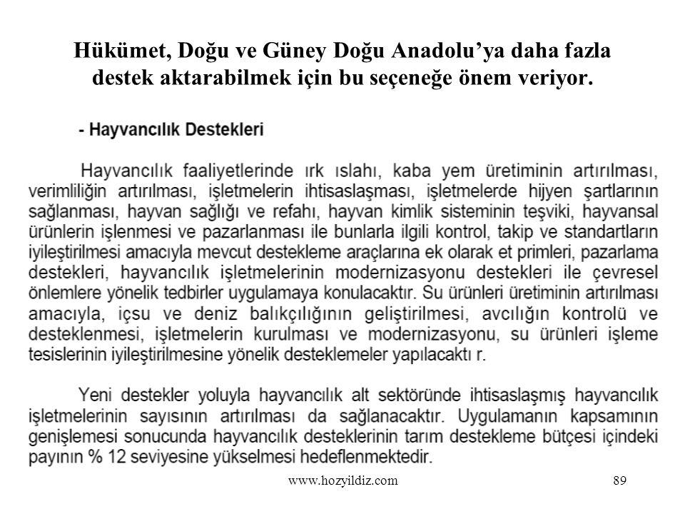 89 Hükümet, Doğu ve Güney Doğu Anadolu'ya daha fazla destek aktarabilmek için bu seçeneğe önem veriyor. www.hozyildiz.com