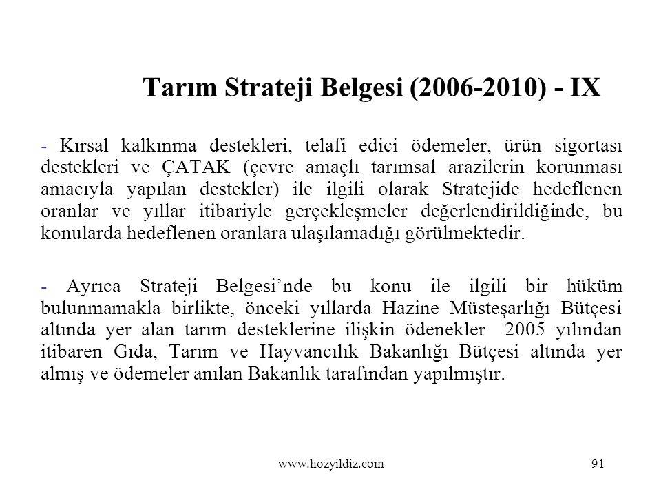 Tarım Strateji Belgesi (2006-2010) - IX - Kırsal kalkınma destekleri, telafi edici ödemeler, ürün sigortası destekleri ve ÇATAK (çevre amaçlı tarımsal