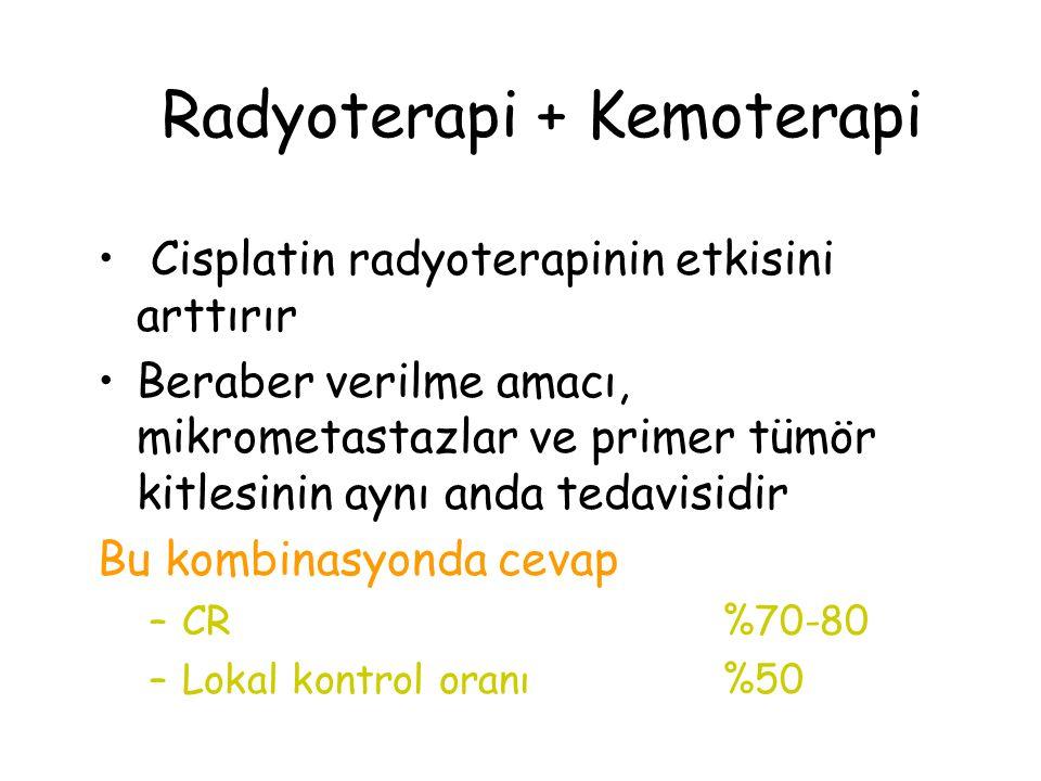 Radyoterapi + Kemoterapi Cisplatin radyoterapinin etkisini arttırır Beraber verilme amacı, mikrometastazlar ve primer tümör kitlesinin aynı anda tedavisidir Bu kombinasyonda cevap –CR%70-80 –Lokal kontrol oranı%50