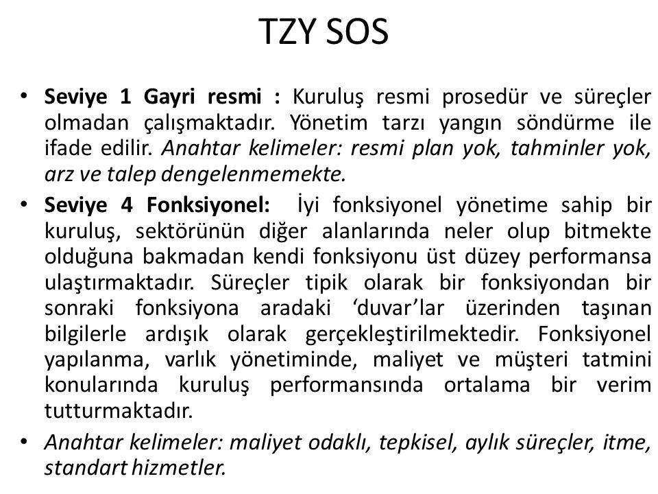 TZY SOS Seviye 1 Gayri resmi : Kuruluş resmi prosedür ve süreçler olmadan çalışmaktadır. Yönetim tarzı yangın söndürme ile ifade edilir. Anahtar kelim
