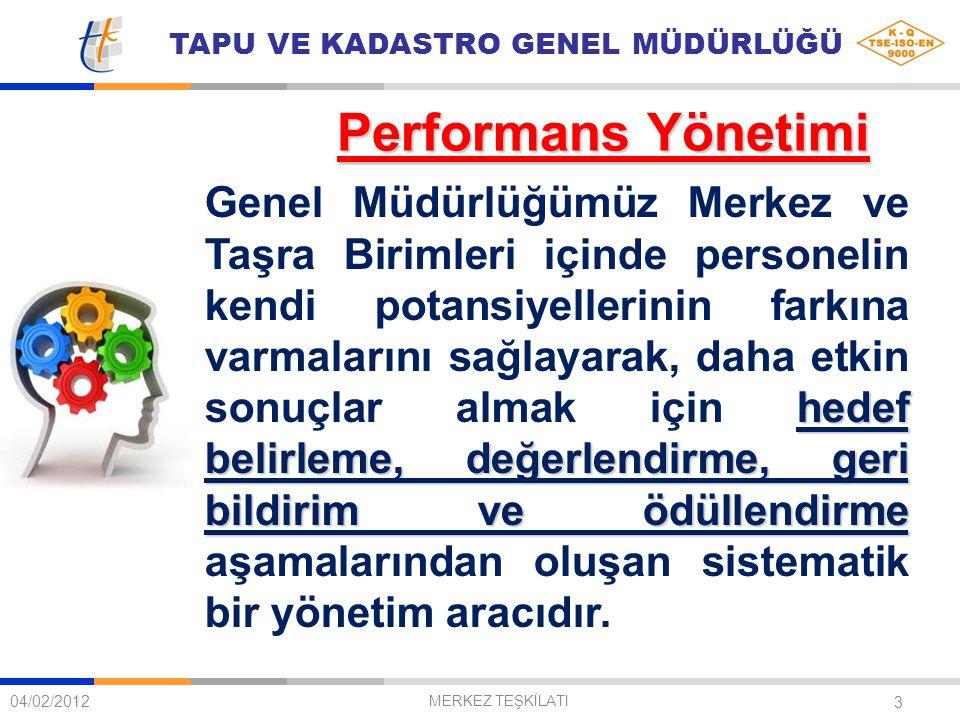 TAPU VE KADASTRO GENEL MÜDÜRLÜĞÜ 3 Performans Yönetimi 04/02/2012 MERKEZ TEŞKİLATI hedef belirleme, değerlendirme, geri bildirim ve ödüllendirme Genel