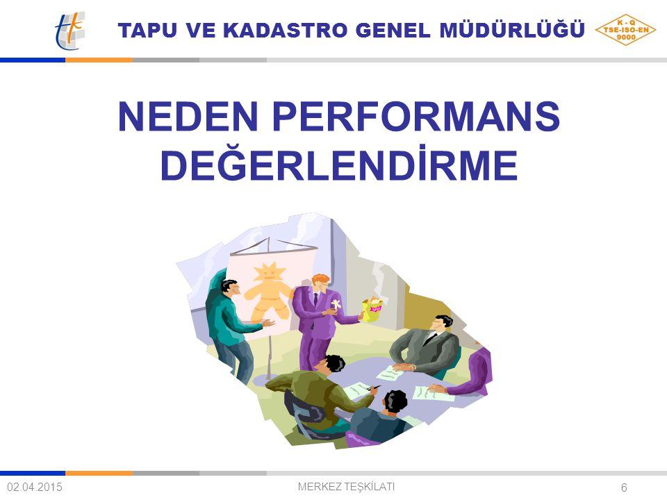 TAPU VE KADASTRO GENEL MÜDÜRLÜĞÜ 7 02.04.2015 MERKEZ TEŞKİLATI Kurumun her aşamasındaki iş kalemlerini net ve doğru bir biçimde ortaya çıkarmak,Kurumun her aşamasındaki iş kalemlerini net ve doğru bir biçimde ortaya çıkarmak, Düşük performansı belirleyerek, nedenlerini ve çözüm yollarını ortaya koymak ve iyi performansı pekiştirmekDüşük performansı belirleyerek, nedenlerini ve çözüm yollarını ortaya koymak ve iyi performansı pekiştirmek İyileştirme için fikirler ve fırsatlar yaratmak,İyileştirme için fikirler ve fırsatlar yaratmak, Çalışanların verimlilik ve iş tatminlerini arttırmak,Çalışanların verimlilik ve iş tatminlerini arttırmak, Çalışanın eğitim ihtiyaçlarını belirleyerek, bunların nasıl karşılanacağını araştırmak,Çalışanın eğitim ihtiyaçlarını belirleyerek, bunların nasıl karşılanacağını araştırmak, Yönetici ile çalışan arasındaki iletişimi ve anlayışı artırmak,Yönetici ile çalışan arasındaki iletişimi ve anlayışı artırmak,
