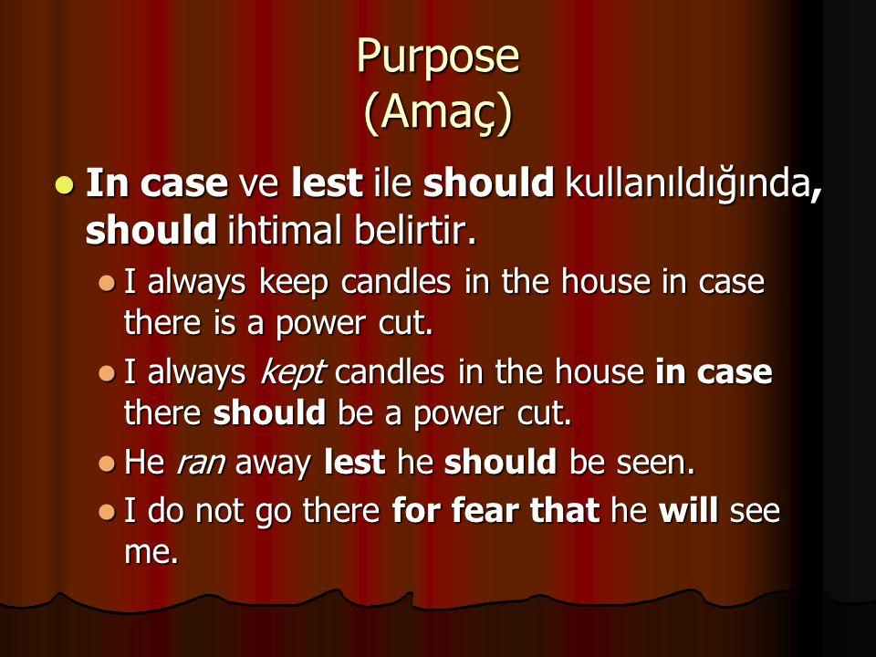 Purpose (Amaç) In case ve lest ile should kullanıldığında, should ihtimal belirtir. In case ve lest ile should kullanıldığında, should ihtimal belirti