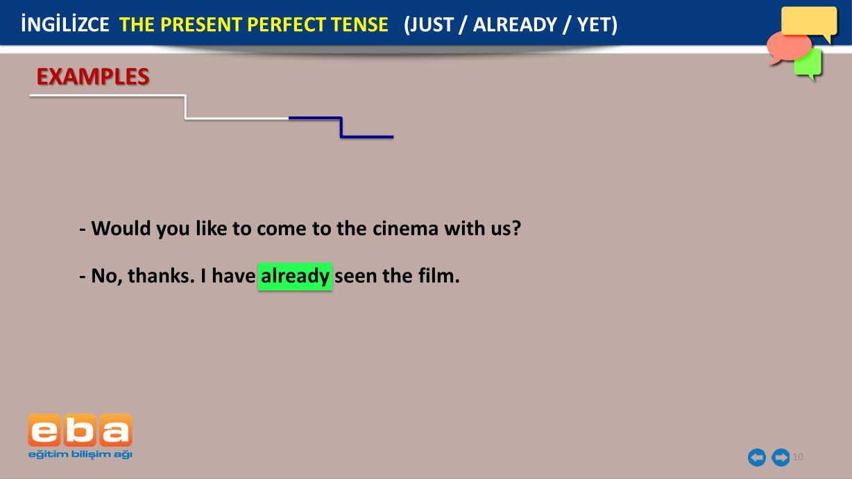10 - Would you like to come to the cinema with us? EXAMPLES İNGİLİZCE THE PRESENT PERFECT TENSE (JUST / ALREADY / YET) - No, thanks. I have already se