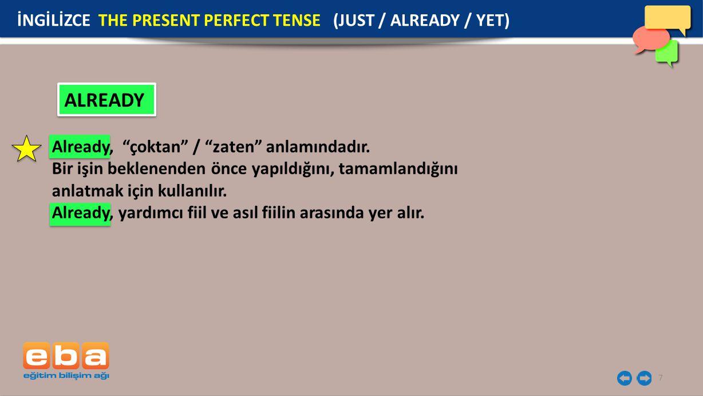 7 ALREADY İNGİLİZCE THE PRESENT PERFECT TENSE (JUST / ALREADY / YET) Already, çoktan / zaten anlamındadır.