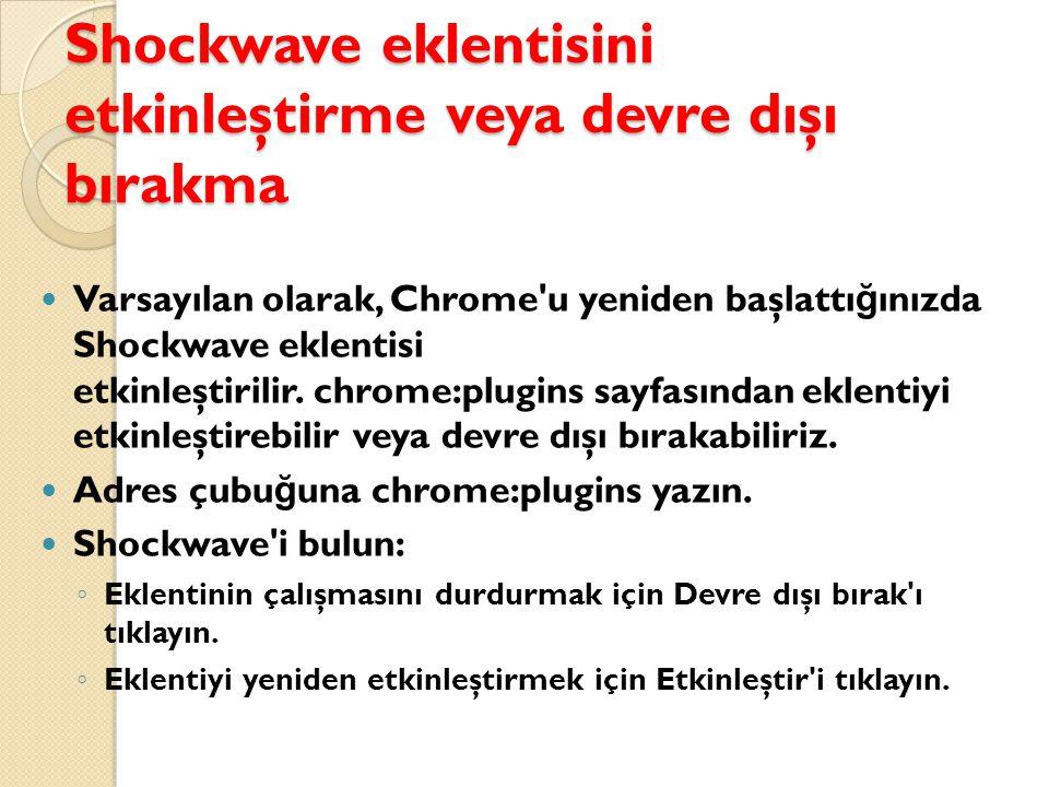 Shockwave eklentisini etkinleştirme veya devre dışı bırakma Varsayılan olarak, Chrome u yeniden başlattı ğ ınızda Shockwave eklentisi etkinleştirilir.