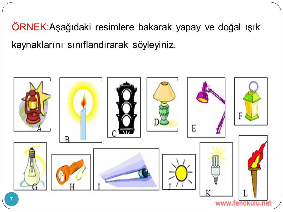 ÖRNEK:Aşağıdaki resimlere bakarak yapay ve doğal ışık kaynaklarını sınıflandırarak söyleyiniz. 7